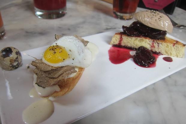 salami crostini, foie gras