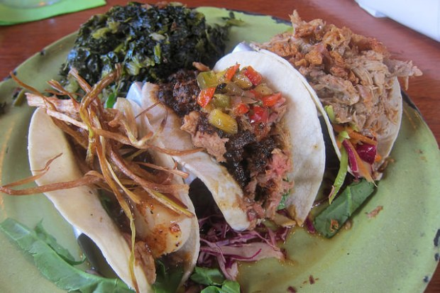 tacos sampler with smothered greens