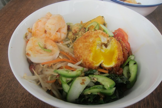 veggie bowl with shrimp