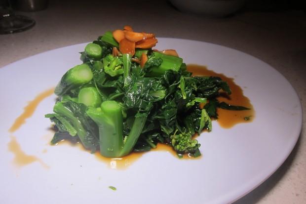 Chinese greens and garlic