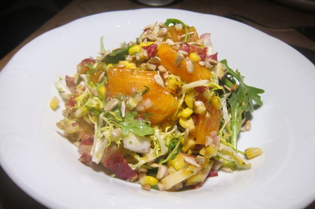 fuyu persimmon and corn salad
