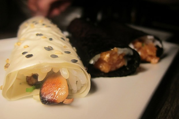 foie gras and spicy yellowtail hand rolls