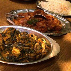 shrimp saag  and lamb bhuna