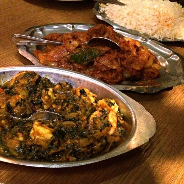 shrimp saag  and lamb bhuna