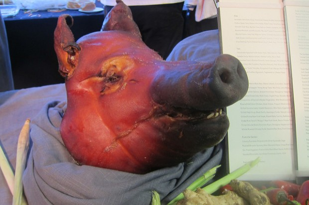 pig's head from Wolfgang Puck Catering