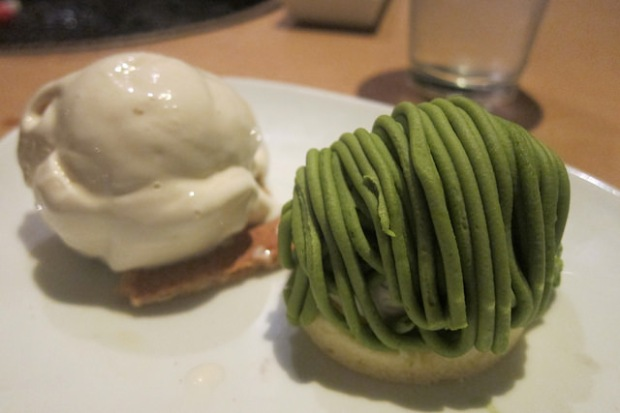 green tea mont blanc cake with vanilla ice cream