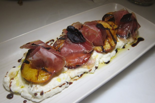 burrata with stone fruit and proscuitto