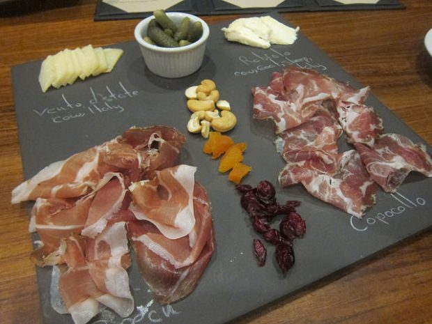 selection of cheeses and salumi