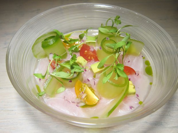 amberjack with tomatillo aguachile