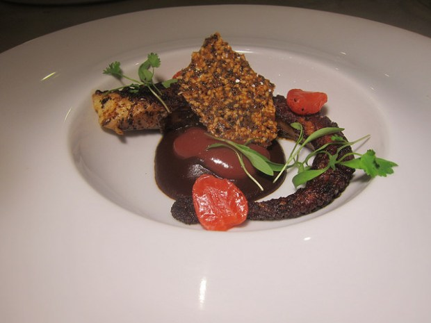 octopus with mole sauce