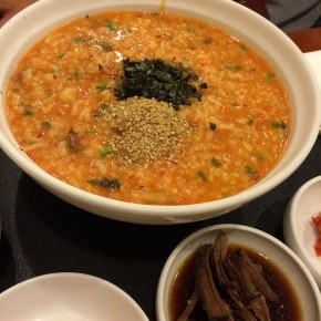 kimchi and octopus porridge