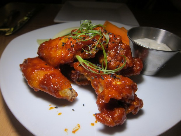 "wings with ""bleu cheese"" (tofu sauce)"