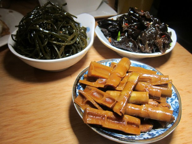trio of cold salads- seaweed, woodear mushroom and five-spice bamboo shoots