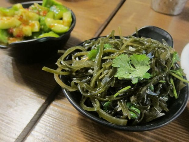 smashed cucumbers and seaweed