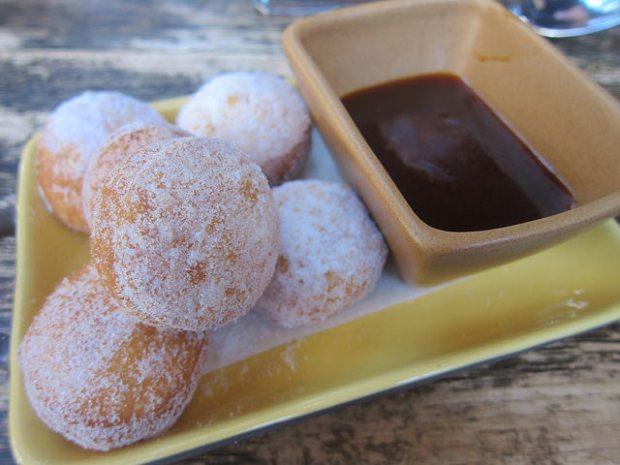 doughnuts with bourbon caramel sauce